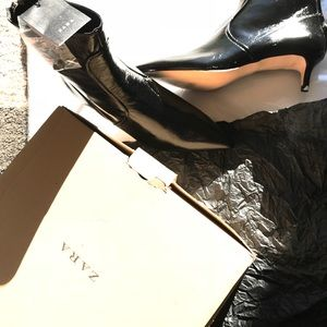 Nwt Zara shiny black leather heel boot